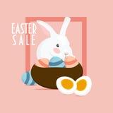Easte zając, królik lub kosz Easter jajka Teksta ` sprzedaży Wielkanocny ` Zdjęcie Stock
