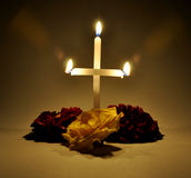 Easter. A candle cross worship for Christmas Stock Photo