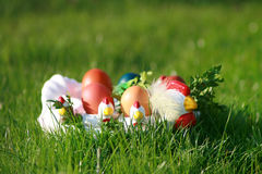 Easter. Chicken with eggs -  eggs holidays Royalty Free Stock Photography