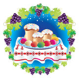 Easter. Table laid with sweet cake Royalty Free Stock Photos