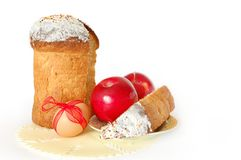 Easter. Bread on a plate and egg with a red bow Royalty Free Stock Images