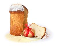 Easter. Bread on a plate and egg with a red bow stock photos