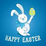 Easter bunny with easter egg. Easter bunny with easter egg on blue background royalty free illustration