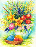 Easter. Image of Easter theme with basket  colorful eggs and spring flowers in background.Picture I have created with watercolors Royalty Free Stock Photography