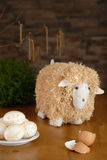 Easter. Lamb look-out Easter eggs Royalty Free Stock Photos