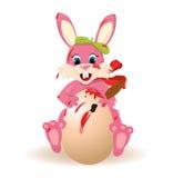 Easter. Rabbit painting egg illustration background Royalty Free Stock Images