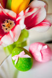 Easter. Still-life with flowers and eggs Stock Image
