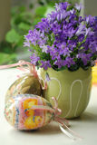 Easter. Lavender flowers and decorative easter eggs Stock Images