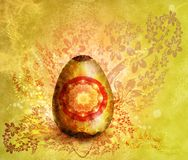 Easter-2. Drawn easter-egg in painting, with floral decorative patterns around Stock Image