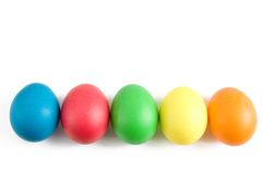 Easter. Painted Easter eggs isolated on the white background royalty free stock photos