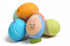 Easter. Child colored Easter Eggs on a white background Royalty Free Stock Photography