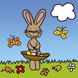Easter. Bunny with basket filled with colored eggs vector illustration