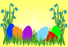 Easter. Eggs on yellow background stock illustration
