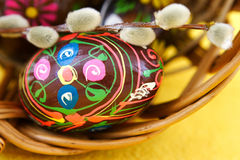 Easter. Eggs and catkin Royalty Free Stock Photo