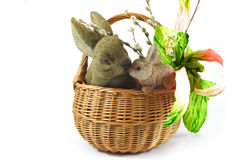 Easter. Decoration with bunny rabbits Stock Photo