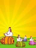 Easter. Illustration for easter holidays with chickens and decorated eggs royalty free illustration