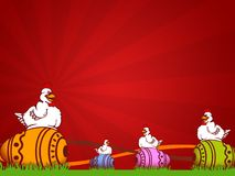 Easter. Illustration for easter holidays with chicken and decorated egg royalty free illustration