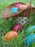 Easter. Eggs spread in the garden Royalty Free Stock Image