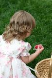 Easter. Child on an easter egg hunt stock photography