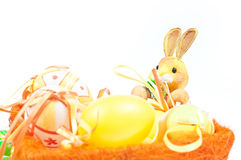 Easter. Colorful and diverse Easter decoration with eggs, rabbit, candle Stock Photo