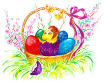 Easter. Image of Easter theme with basket full of colorful eggs and chick Royalty Free Stock Photos