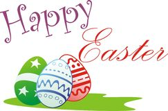 Easter. Colorated eggs and happy easter text Royalty Free Stock Images