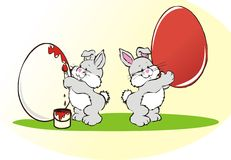 Easter. Bunny and red egg illustration Royalty Free Stock Images
