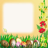 Easter. My illustration of Easter with eggs and flowers would be great for Notepaper Royalty Free Stock Images