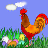 Easter. My illustration of Easter with eggs and flowers,grass and Chicken Royalty Free Stock Photos