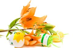 Easter. Egg and orange lily isolated on white Royalty Free Stock Images