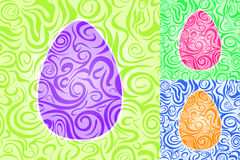 Easter Abstract Swirl Seamless Pattern Set Royalty Free Stock Photos