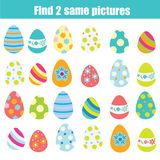 Easter activity. Find the same pictures children educational game. Find same eggs. Easter activity. Find the same pictures. Children educational game. Find pair Stock Images