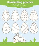 Easter activity. Tracing lines for toddlers. Handwriting practice sheet. Educational children game, printable worksheet for kids.