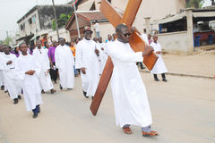 THE EASTER IN AFRICA. Contemplate your own image of the Catholic faithful priests also showing the beautiful middle of the road spirit to commemorate the Passion stock image