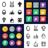 Easter All in One Icons Black & White Color Flat Design Freehand Set. This image is a vector illustration and can be scaled to any size without loss of Stock Photography