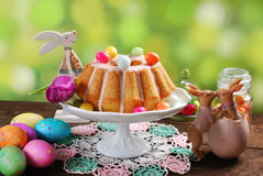 Easter almond ring cake on wooden table Royalty Free Stock Image