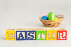 Easter in alphabet blocks with easter eggs Stock Photo