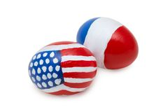 Easter American & French Eggs. Easter eggs with abstract american and french flag on it Royalty Free Stock Image