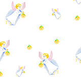 Easter angel watercolor pattern isolated Stock Photos