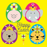 EASTER ANIMAL. Big 4 dressed up as easter egg paraded for easter celebration. Cute 4 mammals pig, bear, elephant and tiger light the Mardi gras up with lovely vector illustration