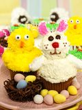 Easter animal cupcake display Royalty Free Stock Photography
