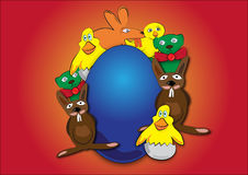 Easter animals. With Easter egg Royalty Free Illustration