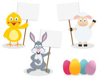 Easter Animals Holding Blank Sign Royalty Free Stock Photography
