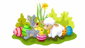 Easter animation with sheep, bunny and chicken stock video footage