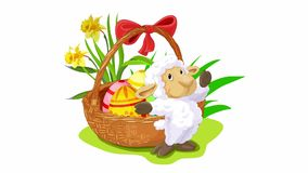 Easter animation with sheep stock footage