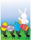 Easter Ants. A group of ants carrying Easter Eggs while the Easter Bunny looks on royalty free illustration