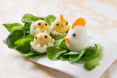 Easter appetizer of boiled eggs Royalty Free Stock Photos