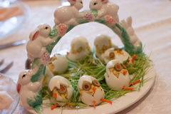 Easter Appetizer Eggs. Easter decorations, egg chicks appetizer Stock Photos