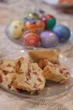 Easter Appetizers. Easter bread and eggs, holiday appetizers Royalty Free Stock Image