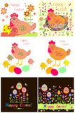 Easter applique with hen, eggs and chicken Royalty Free Stock Images